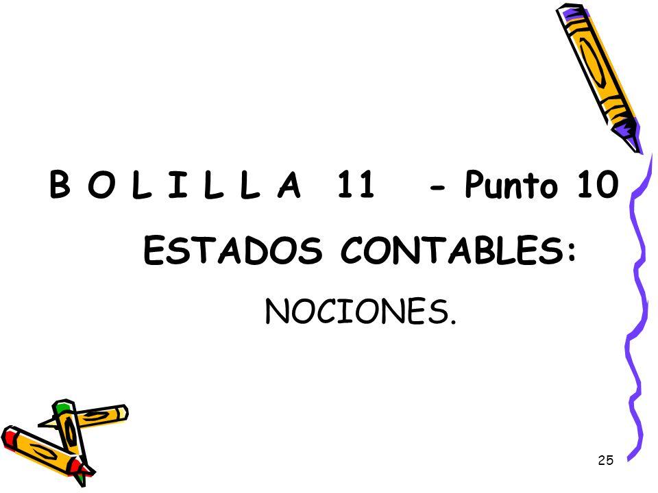 B O L I L L A 11 - Punto 10 ESTADOS CONTABLES: NOCIONES.