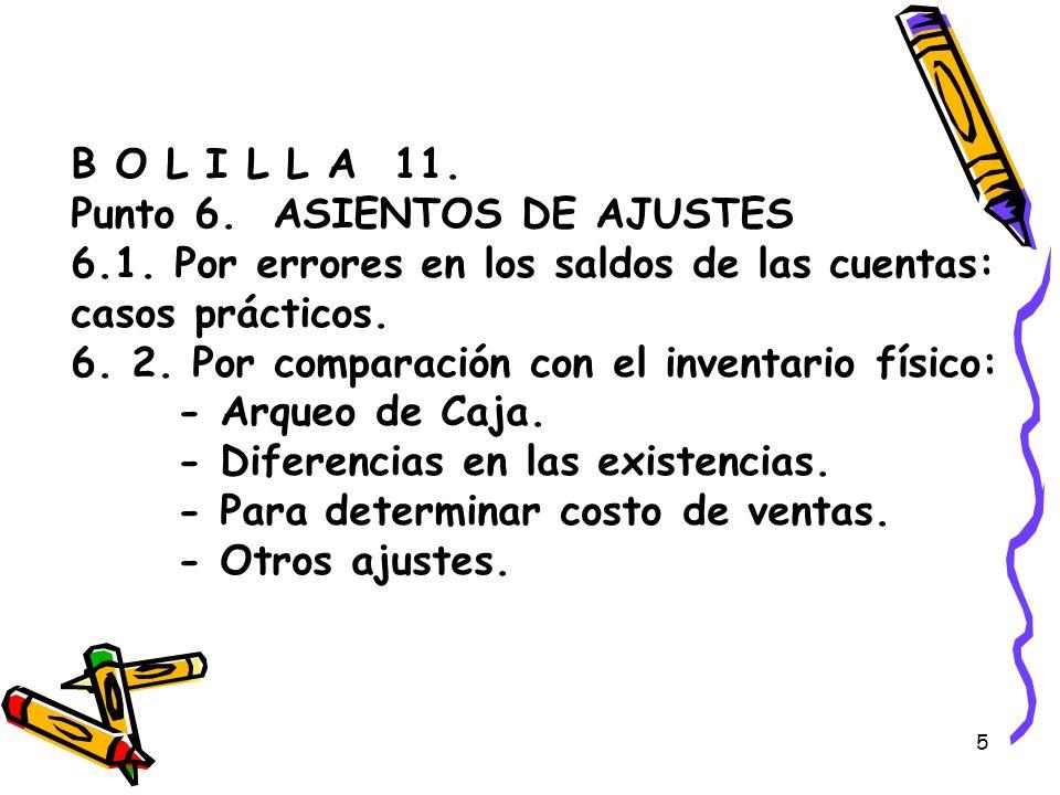 B O L I L L A 11. Punto 6. ASIENTOS DE AJUSTES 6. 1