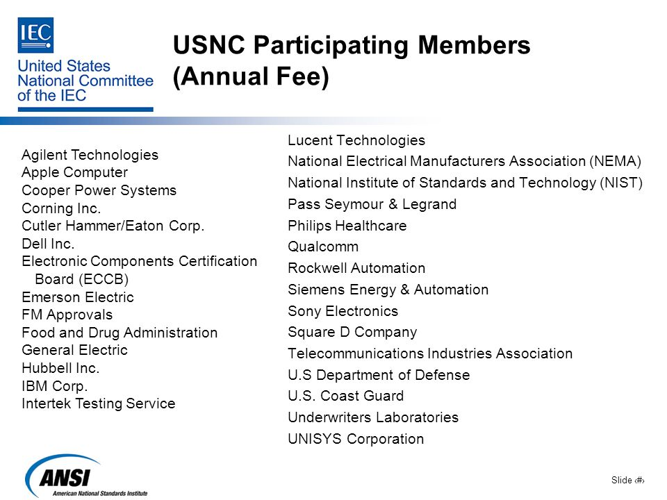 USNC Participating Members (Annual Fee)