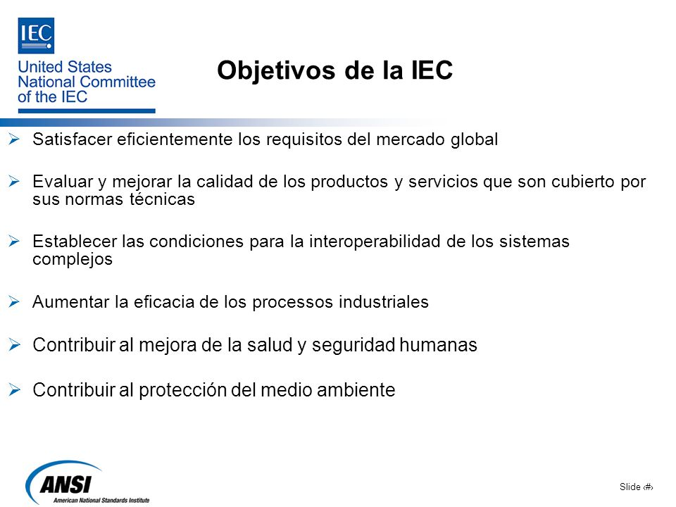 Objetivos de la IEC Satisfacer eficientemente los requisitos del mercado global.