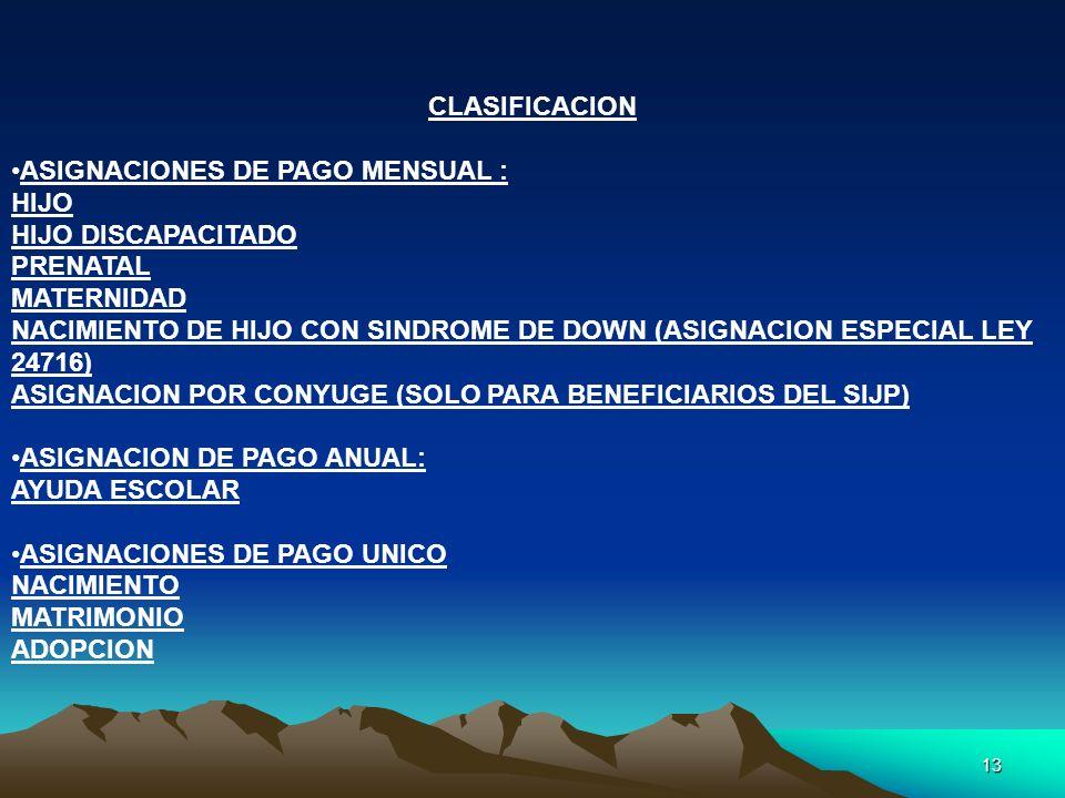 CLASIFICACION ASIGNACIONES DE PAGO MENSUAL : HIJO. HIJO DISCAPACITADO. PRENATAL. MATERNIDAD.