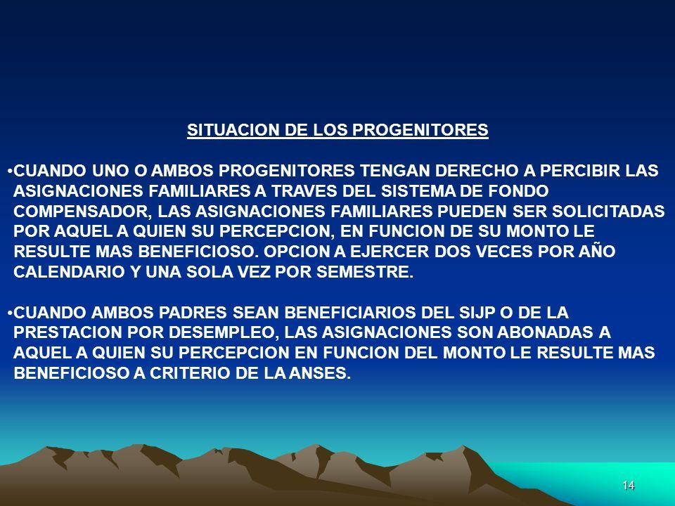 SITUACION DE LOS PROGENITORES