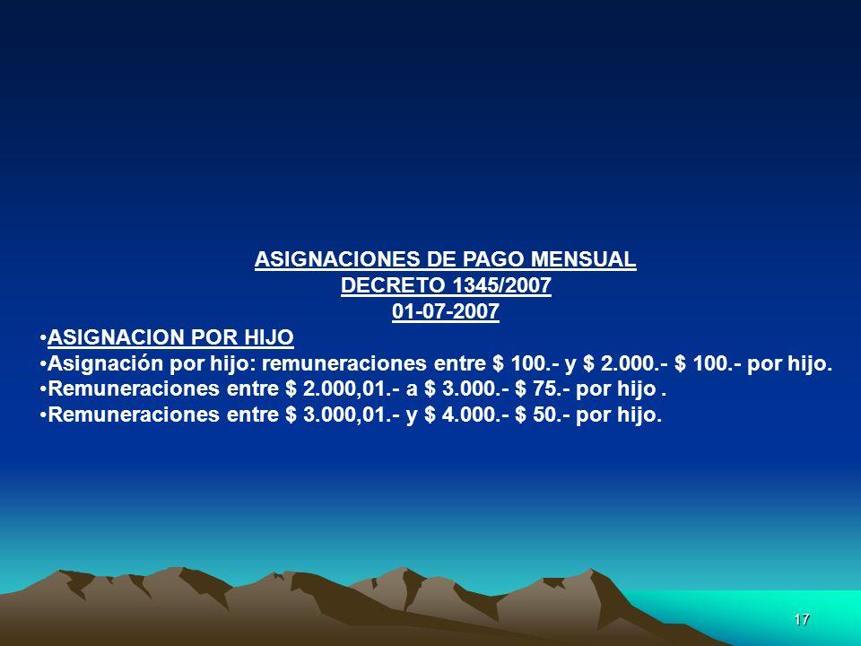 ASIGNACIONES DE PAGO MENSUAL