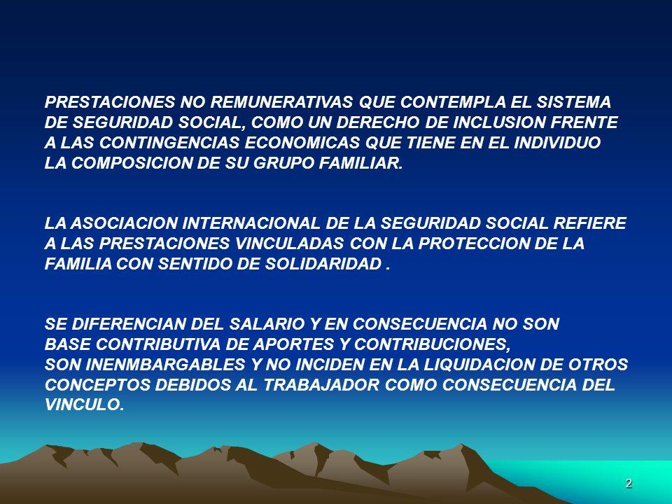 PRESTACIONES NO REMUNERATIVAS QUE CONTEMPLA EL SISTEMA