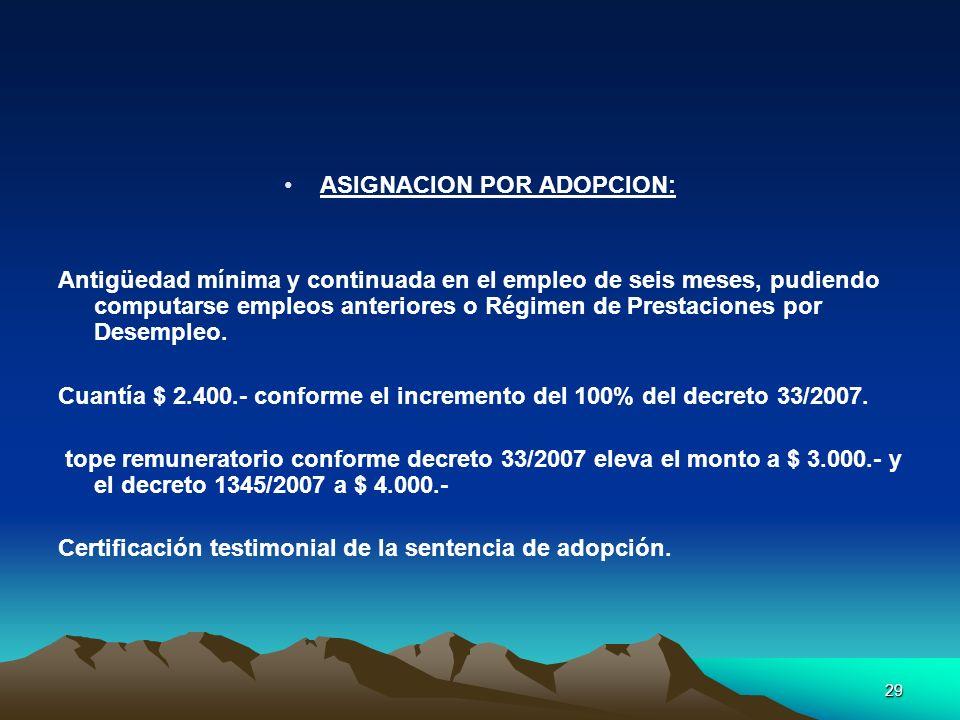 ASIGNACION POR ADOPCION: