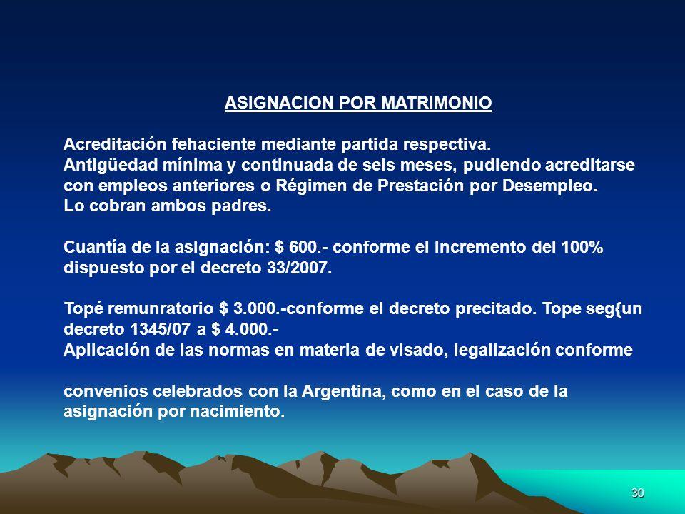 ASIGNACION POR MATRIMONIO