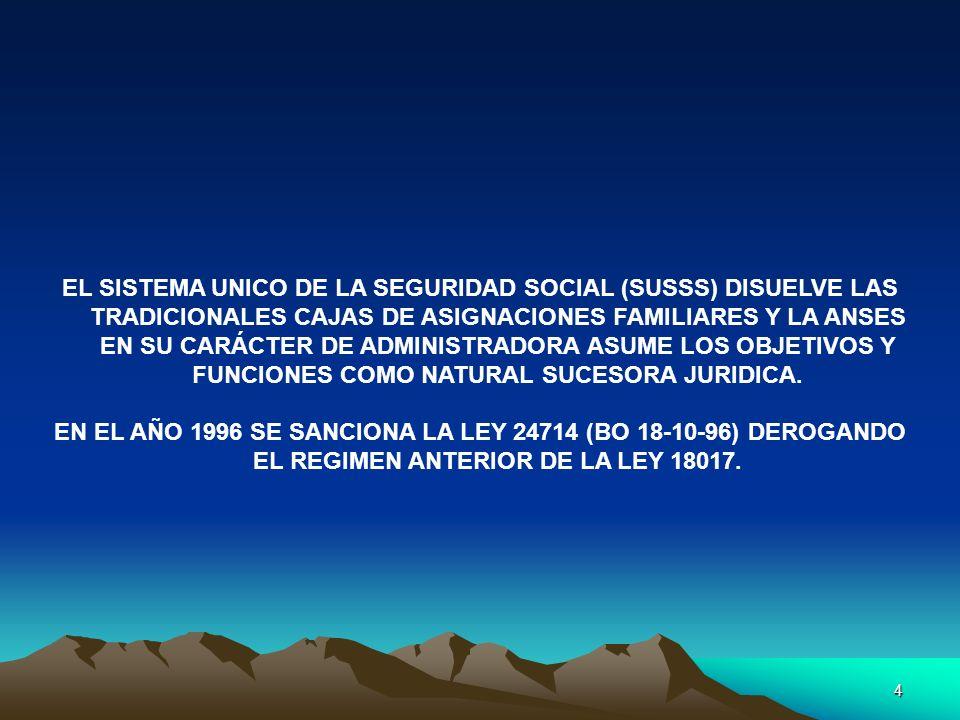 EL SISTEMA UNICO DE LA SEGURIDAD SOCIAL (SUSSS) DISUELVE LAS TRADICIONALES CAJAS DE ASIGNACIONES FAMILIARES Y LA ANSES EN SU CARÁCTER DE ADMINISTRADORA ASUME LOS OBJETIVOS Y FUNCIONES COMO NATURAL SUCESORA JURIDICA.