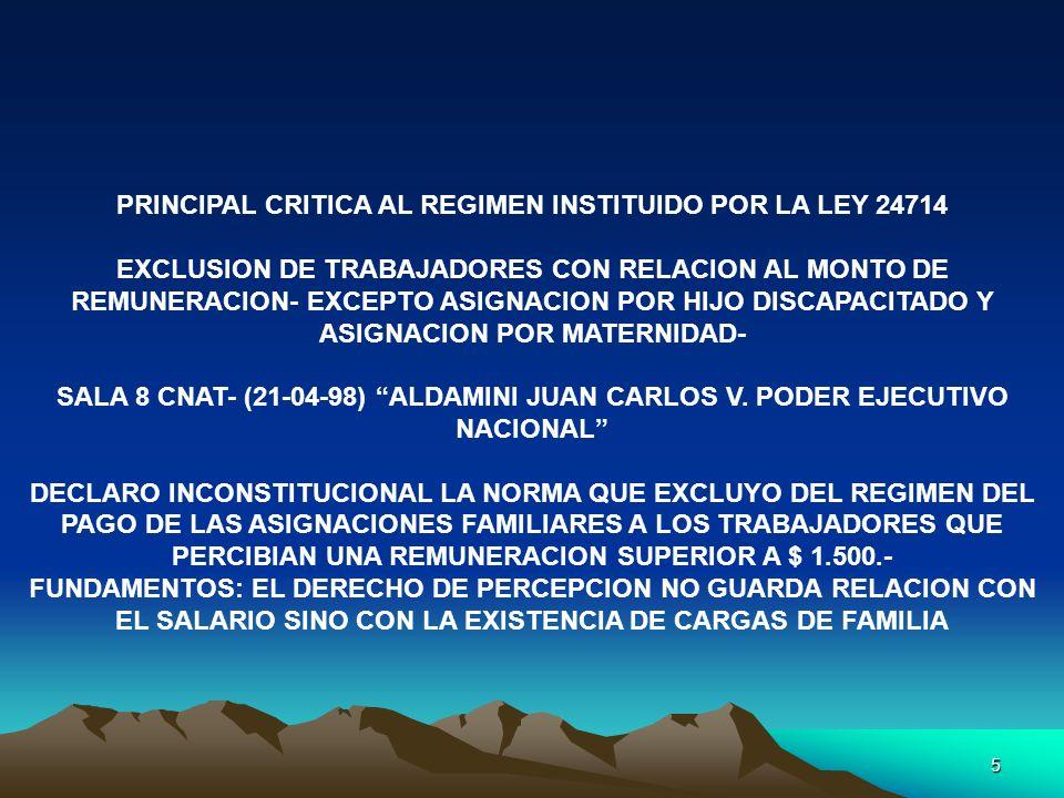 PRINCIPAL CRITICA AL REGIMEN INSTITUIDO POR LA LEY 24714