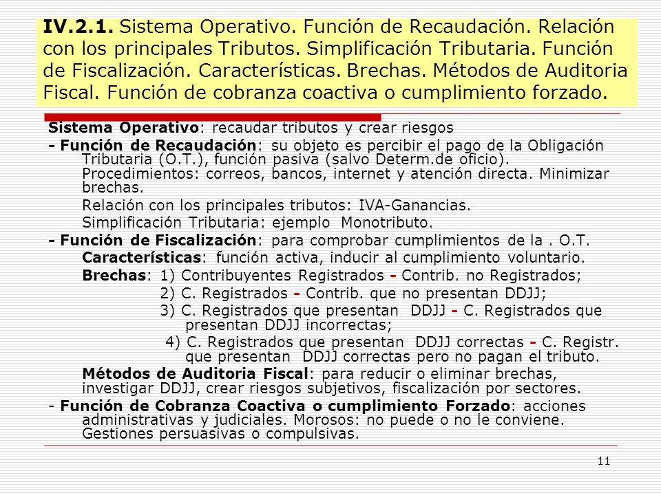IV. 2. 1. Sistema Operativo. Función de Recaudación