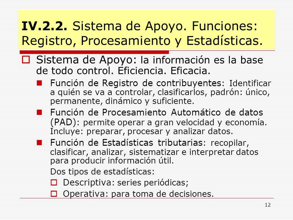 IV.2.2. Sistema de Apoyo. Funciones: Registro, Procesamiento y Estadísticas.