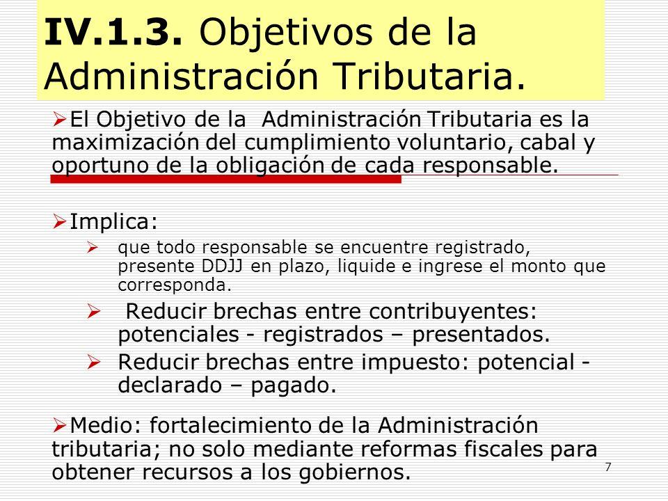 IV.1.3. Objetivos de la Administración Tributaria.