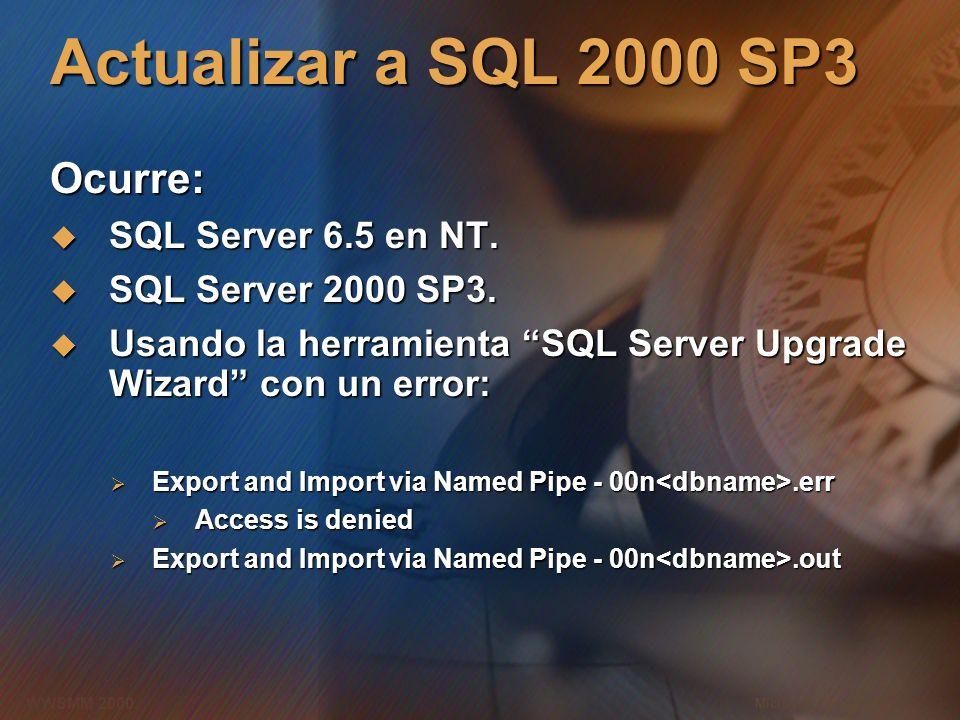 Actualizar a SQL 2000 SP3 Ocurre: SQL Server 6.5 en NT.