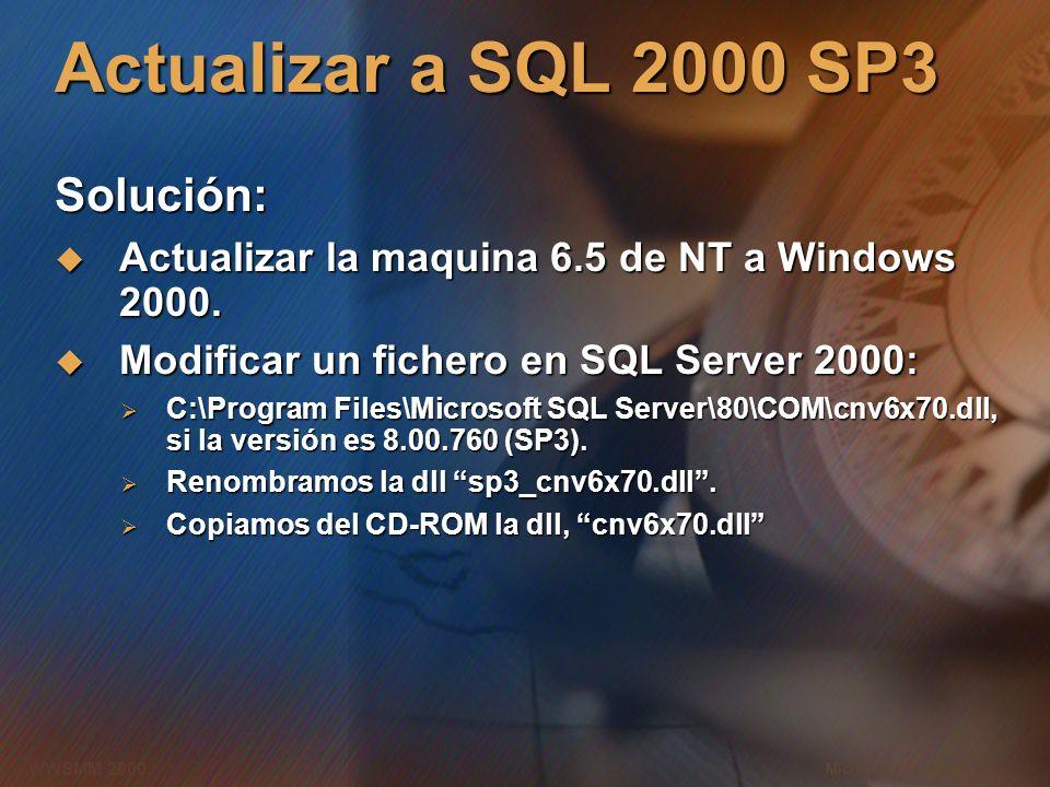 Actualizar a SQL 2000 SP3 Solución: