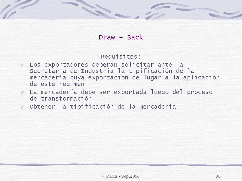 Draw – Back Requisitos: