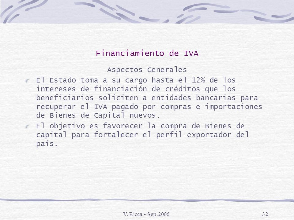 Financiamiento de IVA Aspectos Generales