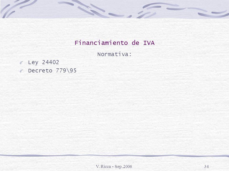 Financiamiento de IVA Normativa: Ley 24402 Decreto 779\95