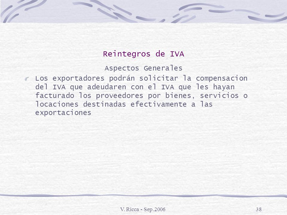 Reintegros de IVA Aspectos Generales