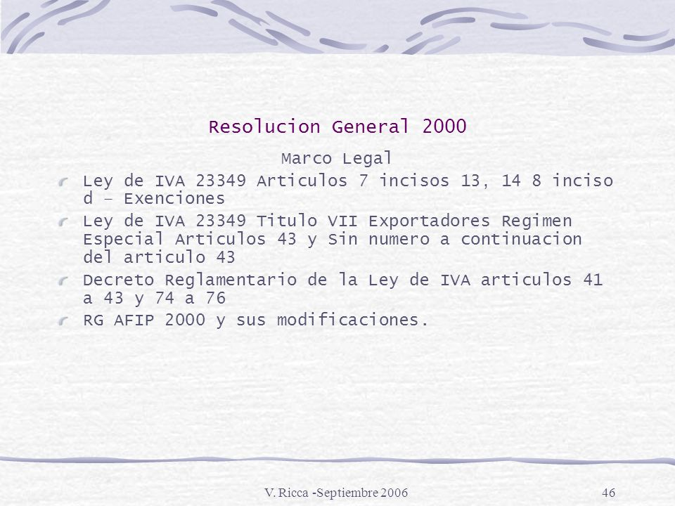Resolucion General 2000 Marco Legal