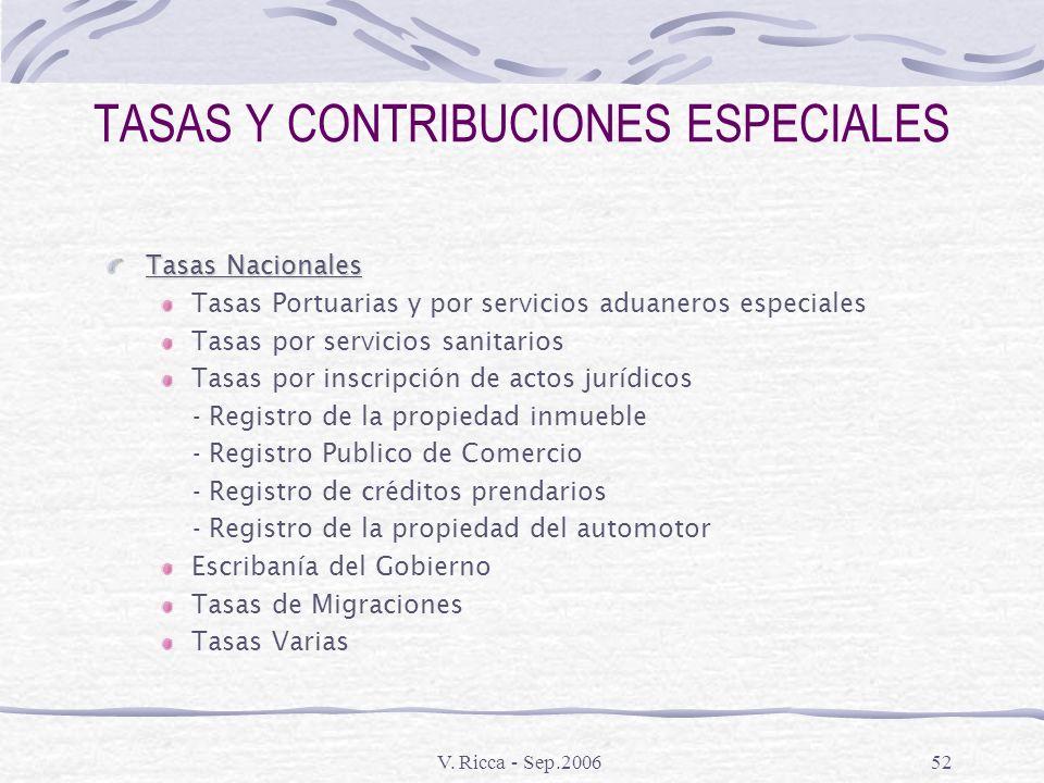 TASAS Y CONTRIBUCIONES ESPECIALES