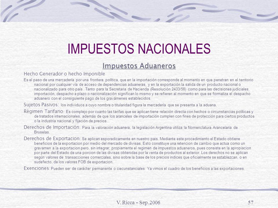 IMPUESTOS NACIONALES Impuestos Aduaneros V. Ricca - Sep.2006