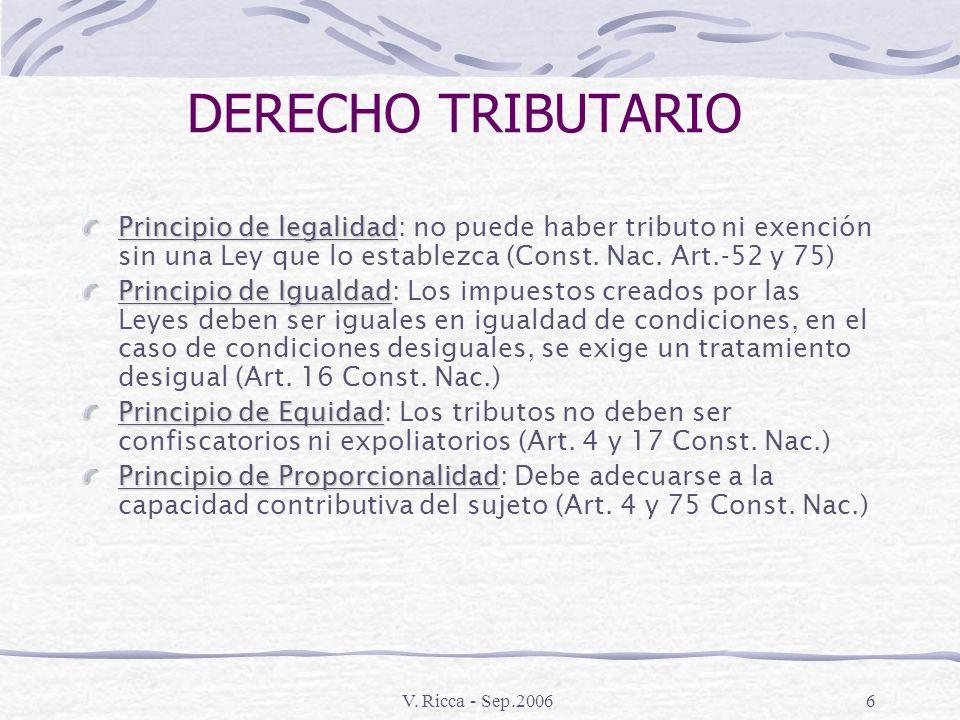 DERECHO TRIBUTARIO Principio de legalidad: no puede haber tributo ni exención sin una Ley que lo establezca (Const. Nac. Art.-52 y 75)