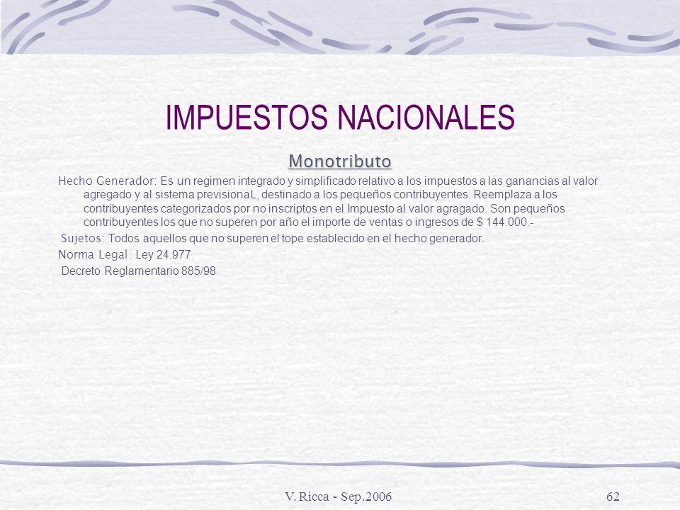 IMPUESTOS NACIONALES Monotributo V. Ricca - Sep.2006