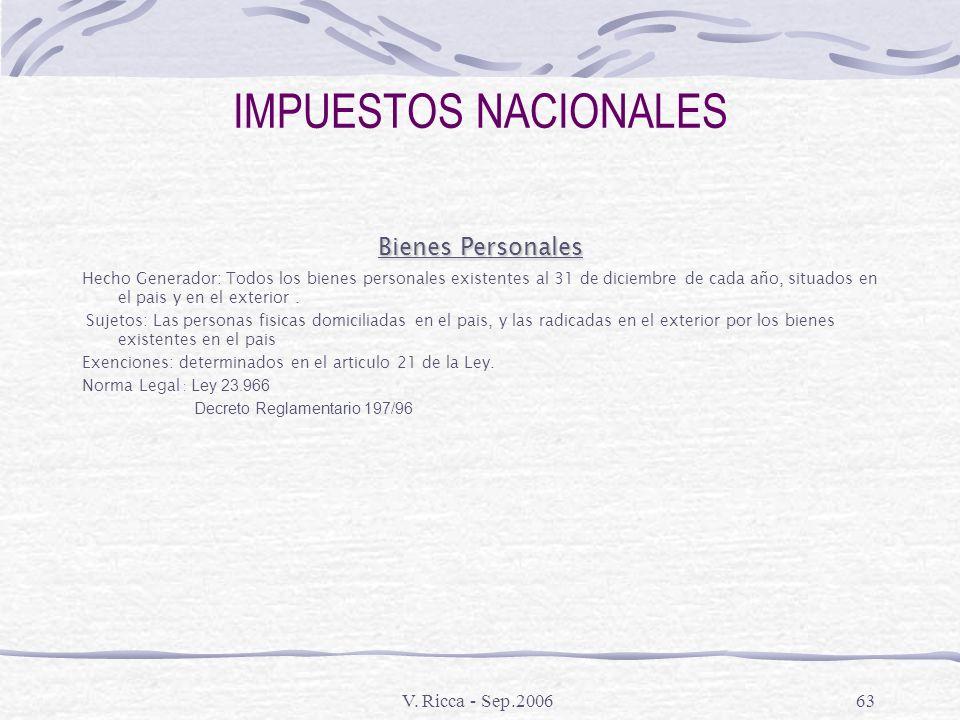IMPUESTOS NACIONALES Bienes Personales V. Ricca - Sep.2006
