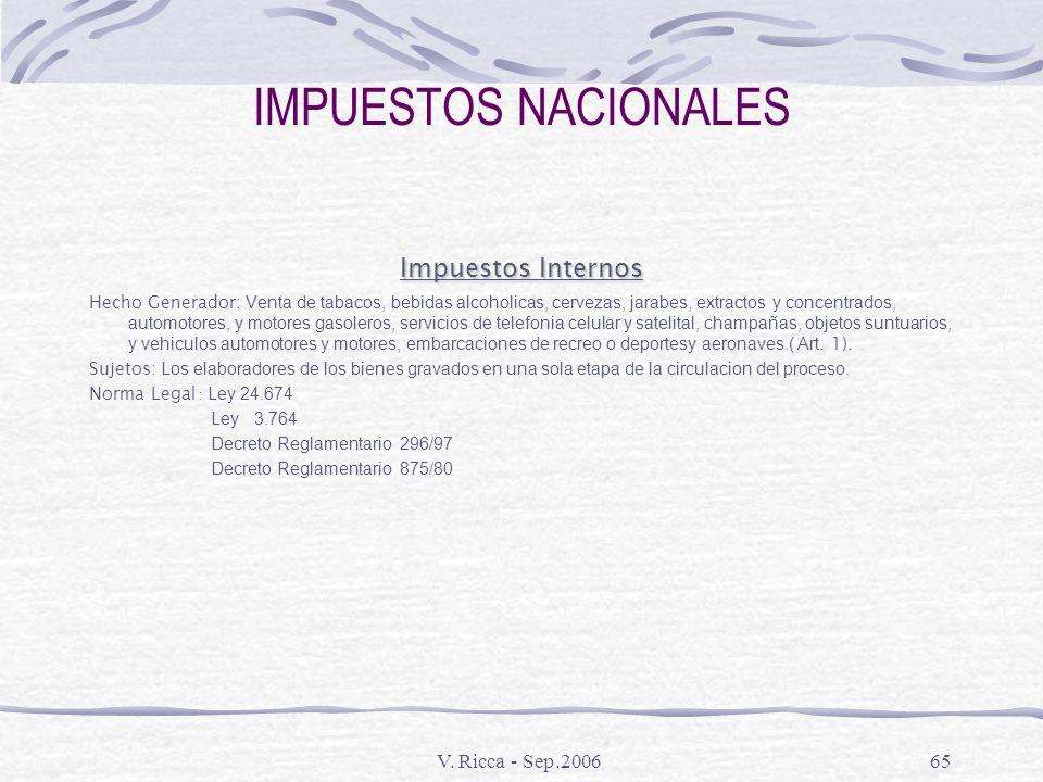 IMPUESTOS NACIONALES Impuestos Internos V. Ricca - Sep.2006