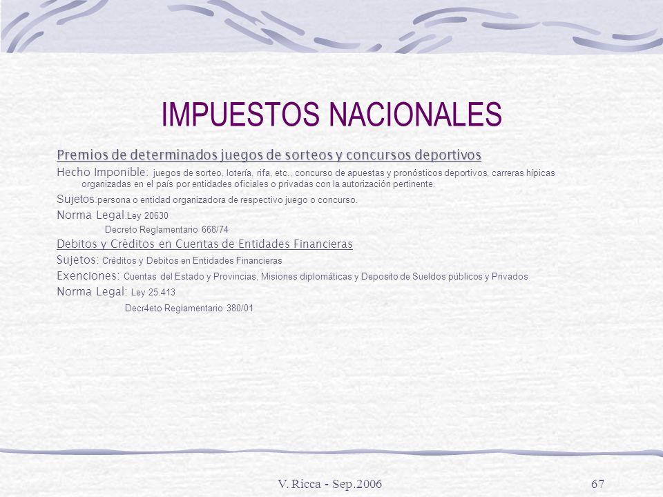 IMPUESTOS NACIONALES Premios de determinados juegos de sorteos y concursos deportivos.