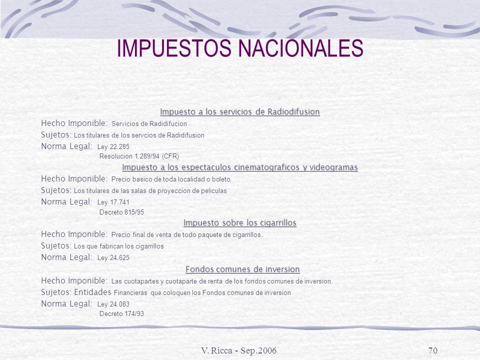 IMPUESTOS NACIONALES V. Ricca - Sep.2006