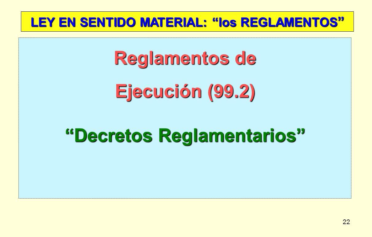 Reglamentos de Ejecución (99.2) Decretos Reglamentarios