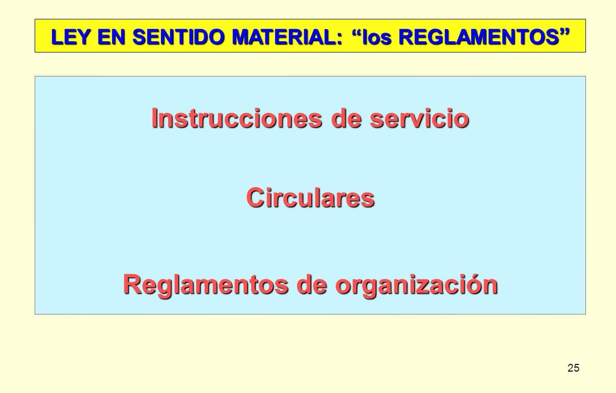 Instrucciones de servicio Circulares Reglamentos de organización