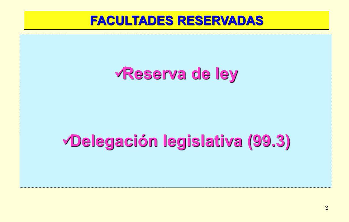 FACULTADES RESERVADAS Delegación legislativa (99.3)