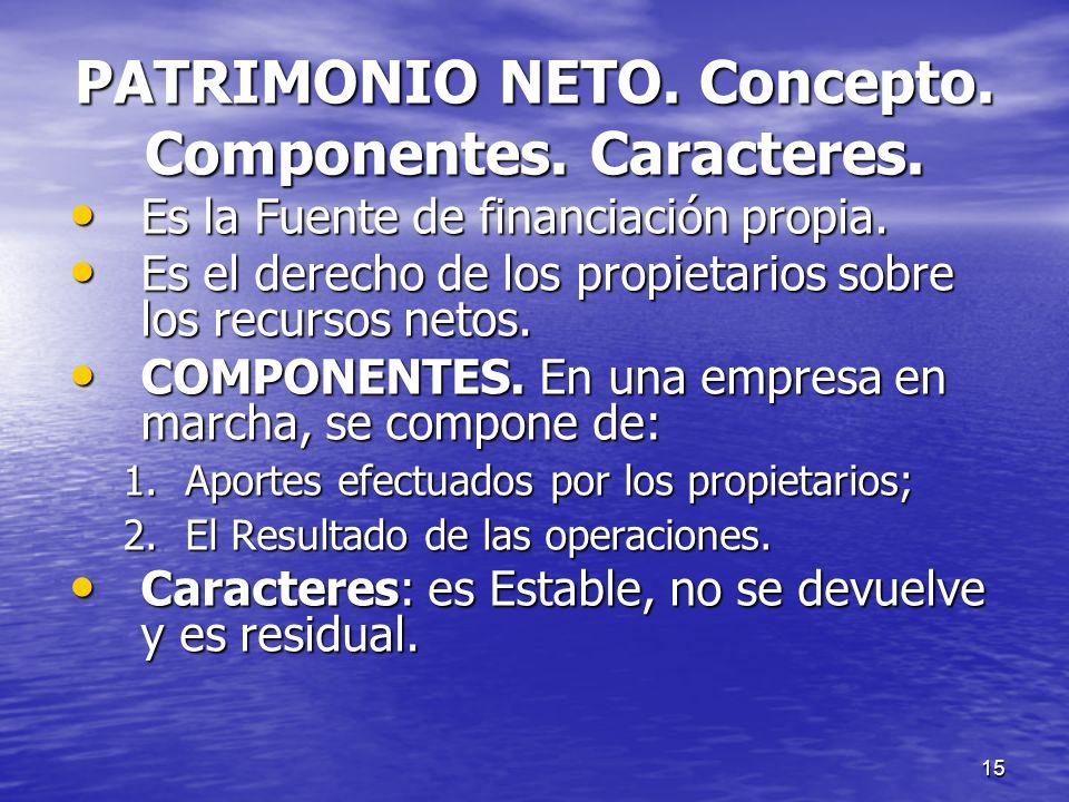 PATRIMONIO NETO. Concepto. Componentes. Caracteres.