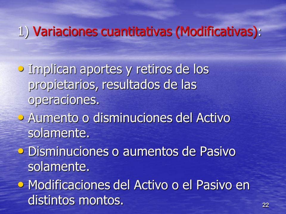1) Variaciones cuantitativas (Modificativas):
