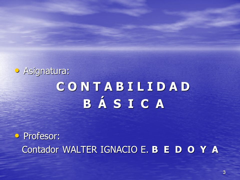 Contador WALTER IGNACIO E. B E D O Y A
