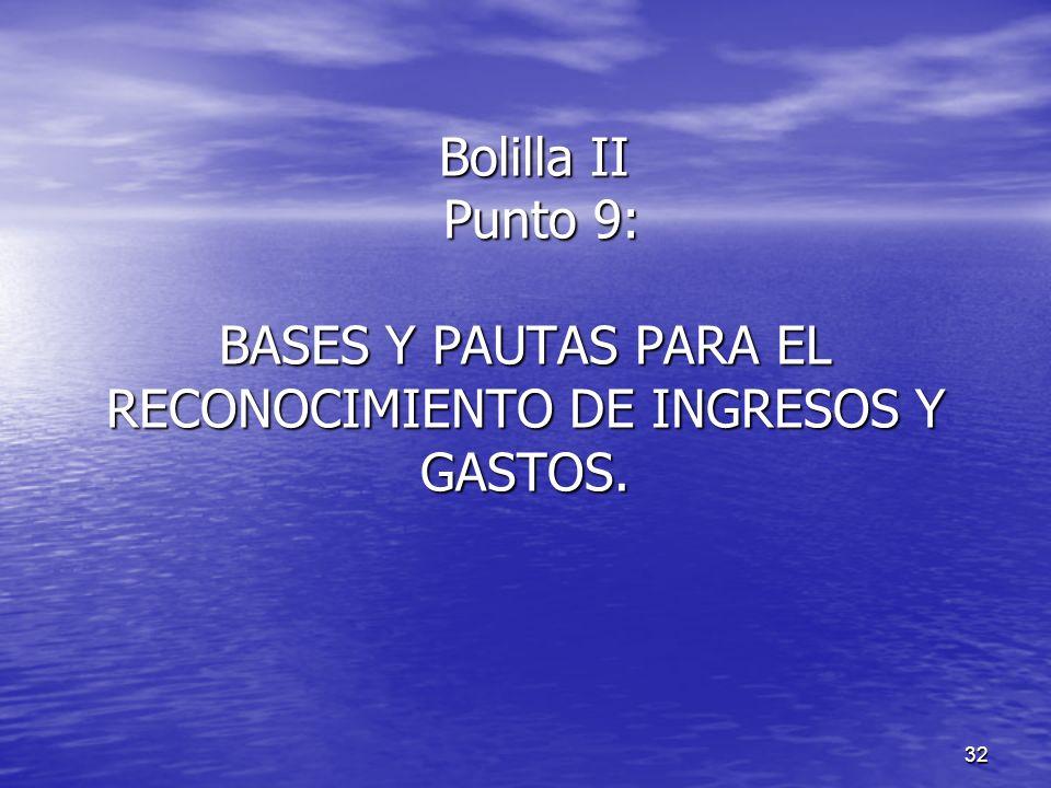 Bolilla II Punto 9: BASES Y PAUTAS PARA EL RECONOCIMIENTO DE INGRESOS Y GASTOS.