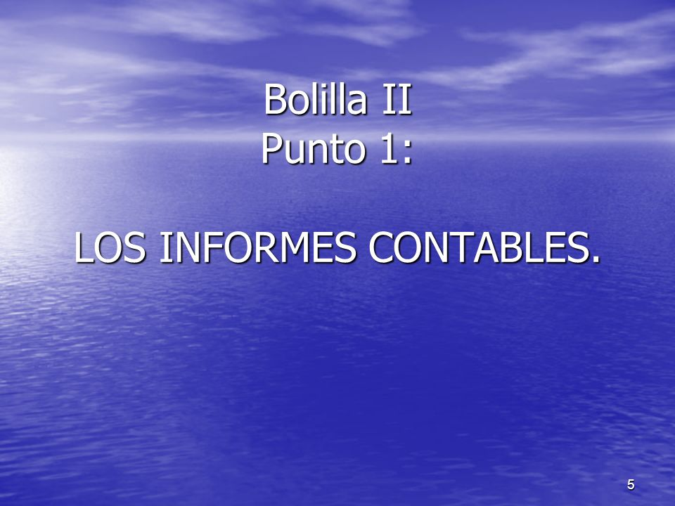 Bolilla II Punto 1: LOS INFORMES CONTABLES.