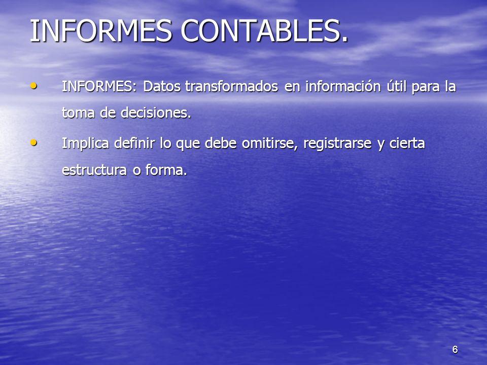 INFORMES CONTABLES. INFORMES: Datos transformados en información útil para la toma de decisiones.