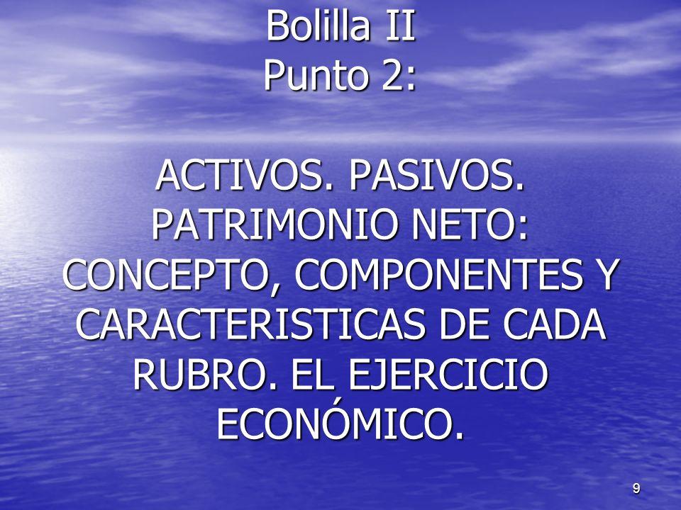 Bolilla II Punto 2: ACTIVOS. PASIVOS