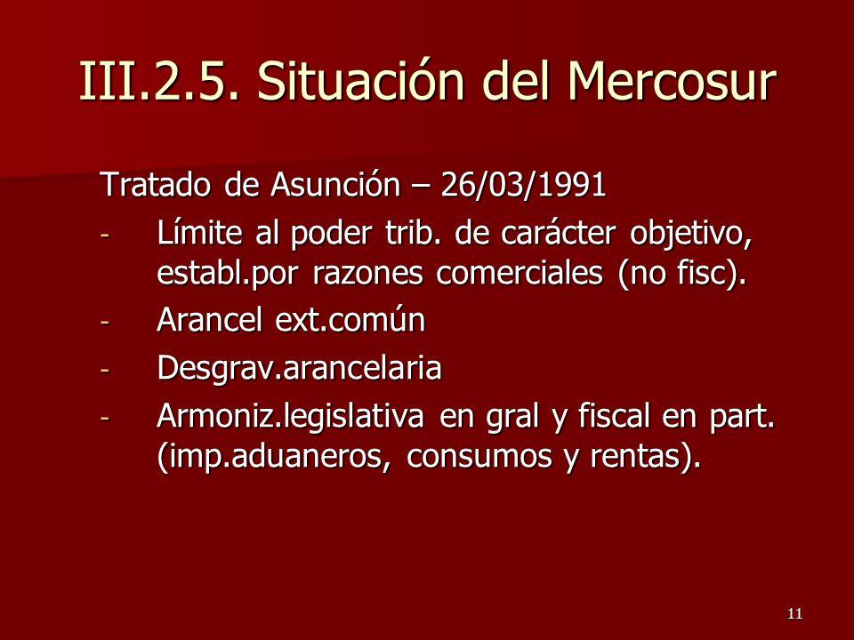 III.2.5. Situación del Mercosur