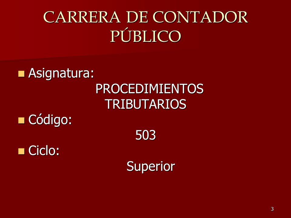 CARRERA DE CONTADOR PÚBLICO
