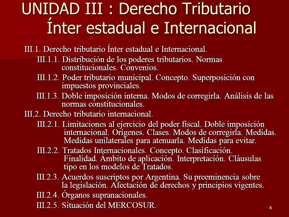 UNIDAD III : Derecho Tributario Ínter estadual e Internacional