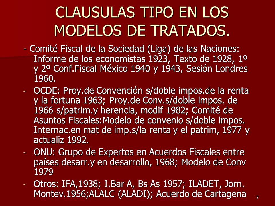 CLAUSULAS TIPO EN LOS MODELOS DE TRATADOS.