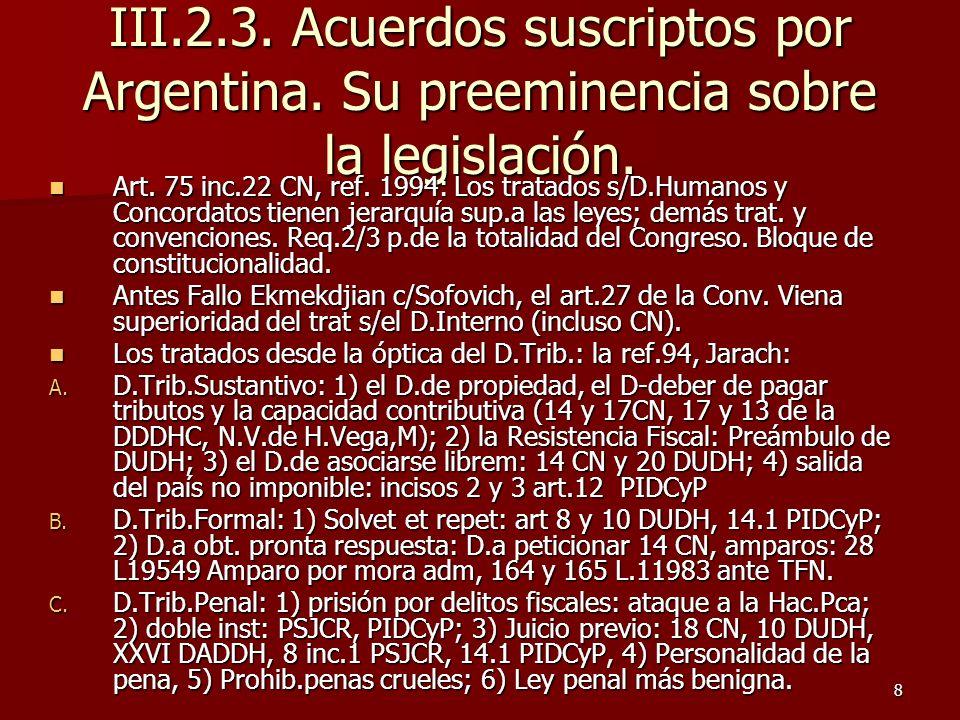 III. 2. 3. Acuerdos suscriptos por Argentina