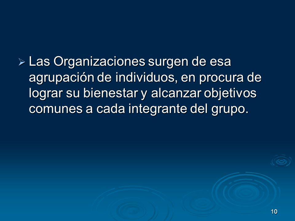 Las Organizaciones surgen de esa agrupación de individuos, en procura de lograr su bienestar y alcanzar objetivos comunes a cada integrante del grupo.