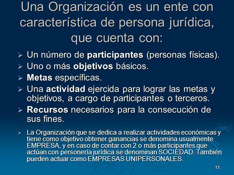 Una Organización es un ente con característica de persona jurídica, que cuenta con: