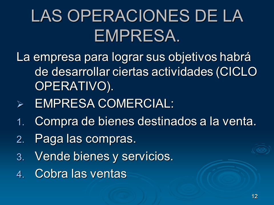 LAS OPERACIONES DE LA EMPRESA.