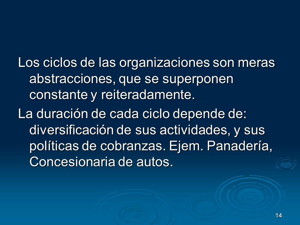 Los ciclos de las organizaciones son meras abstracciones, que se superponen constante y reiteradamente.
