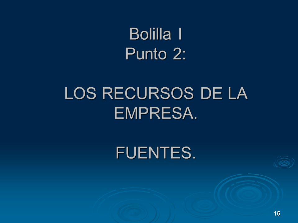 Bolilla I Punto 2: LOS RECURSOS DE LA EMPRESA. FUENTES.